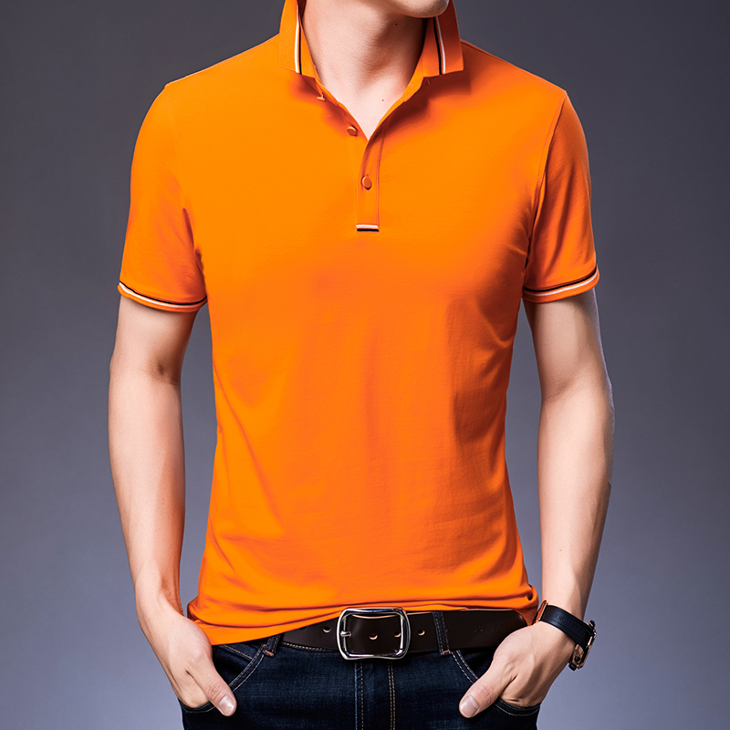 Summer 100% Cotton Solid Color Men   Polo   Casual Shirt Tops Fashion Short Sleeve Free Shipping