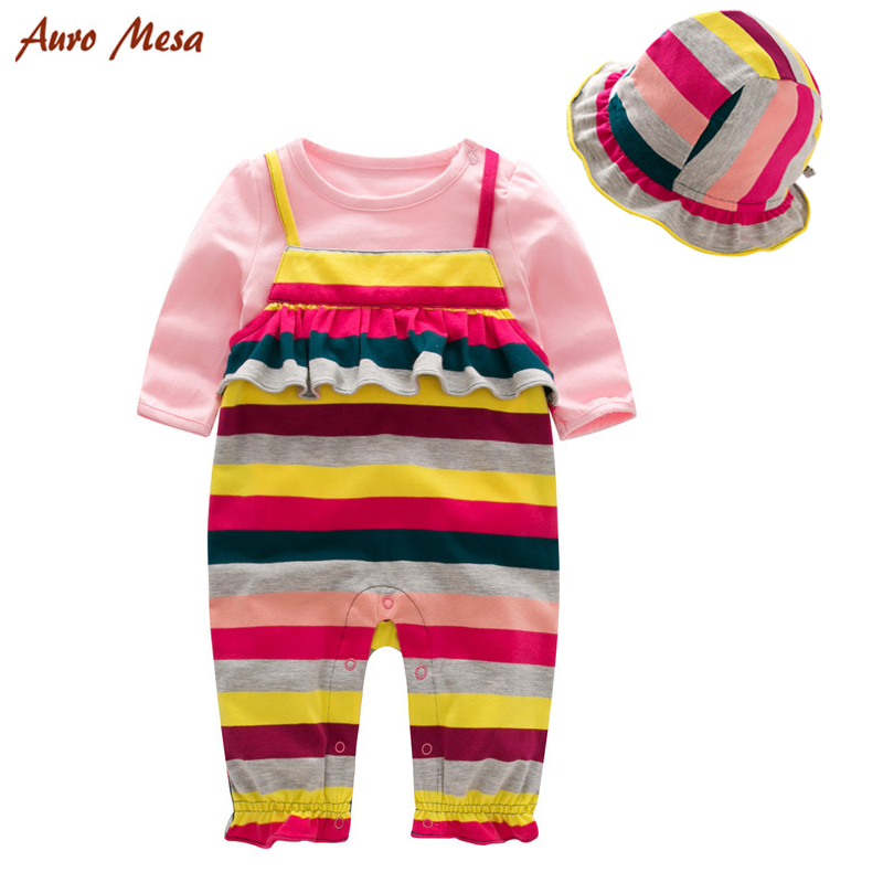 New 2017 Baby Girls Clothes set 3 pieces (Long sleeve Pink T-shirt + Rainbow overalls + hat ) Infant Girls clothes 1st birthday