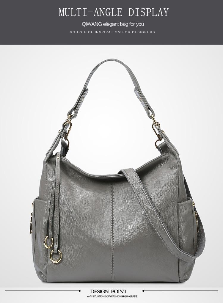 7a8ae409e1d7 QIWANG 100% Grey Genuine Leather Bag Women S Handbag Ladies Shoulder ...