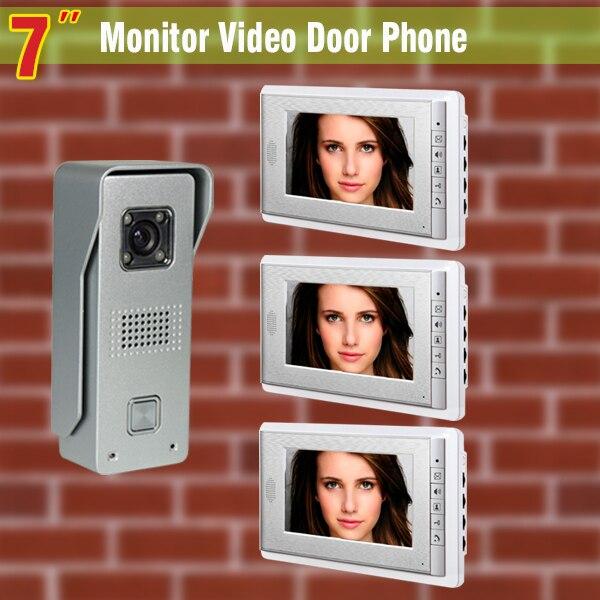 7 Inch Monitor Video Door Phone Intercom Doorbell System Aluminum Alloy night vision Camera visual Intercom video Doorphone