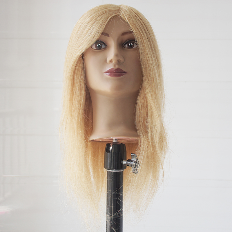"""Female Mannequin Heads Promotion 16"""" 100% Human Hair Blonde Color Manikin Mannequin Training Head for Traning"""