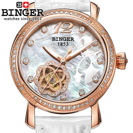 Switzerland Brand Binger Women rhinestone watches Luxury Crystal CZ Diamond Watch Woman Ladies Fashion Dress White Wristwatches binger trendy women man steel rhinestone watch luxury brand design cz diamond watches white big dial 200m waterproof wristwatch
