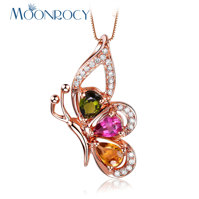 MOONROCY Rose Gold Color CZ Crystal Pendant Necklace Bohemia Butterfly Jewelry Wholesale Choker for Women Gift Drop Shipping