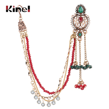 Kinel luxury India Ethnic 1Pcs Earring link Headdress Antique Gold  Long Tassel Earrings For Women Crystal Flower Retro Jewelry