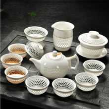White Porcelain Kung Fu Tea Set Teapot Cup Cover Bowl Hollow Honeycomb Exquisite Simple Ceramic Household GaiWan