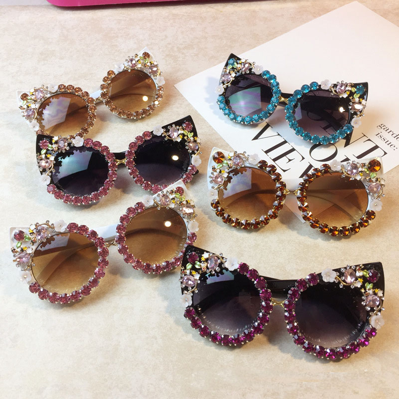 Cat Eye Sunglasses Women Rhinestone Crystal Sun glasses Cute Shades Pink Rhinestone Luxury Brand Desiger  Crystal SunGlass
