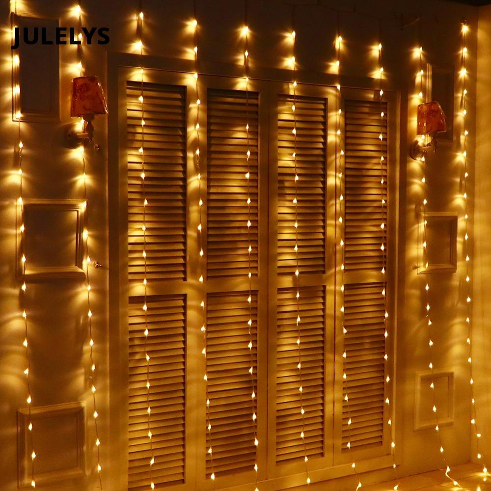 JULELYS 3M x 3M 320 Bulbs LED Waterfall Curtain String Lights Outdoor Christmas Garland Lights Decoration For Wedding Holiday 3m 120 bulbs led heart curtain string garland lights indoor lighting christmas lights holiday party home room decoration lamps