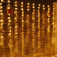 JULELYS 3M x 3M 320 Bulbs LED Waterfall Curtain String Lights Outdoor Christmas Garland Lights Decoration For Wedding Holiday
