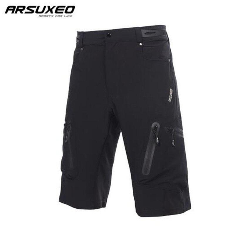 ARSUXEO Mens חיצוני ספורט כיסים MTB אופני הרי מכנסי ברמודה גברים מכנסיים רכיבה על אופניים Ciclismo רכיבה על אופניים ביגוד