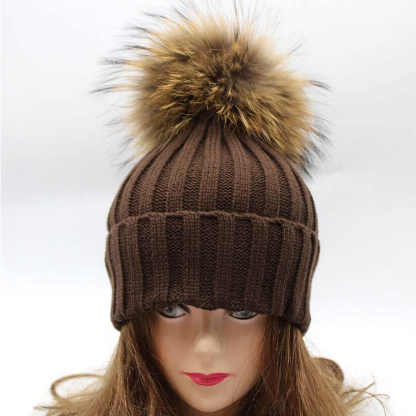 9d143f7893f 18cm Oversized Raccoon Fur Hat Winter Real fur Ball Knitted Wool Women s  Knit Slouchy Cable Beanie