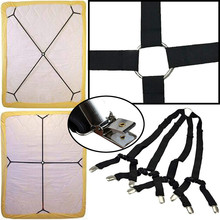 Sheet Bed Suspenders Adjustable Crisscross Fitted Band Straps Grippers Mattress Pad Duvet Cover Corne