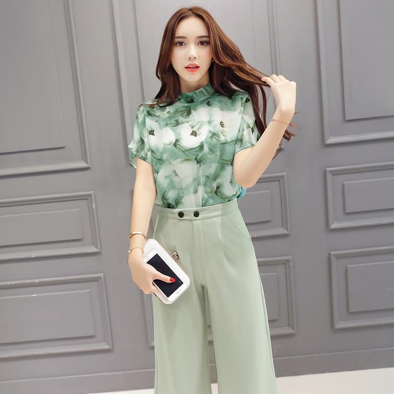 New Women Summer Fashion Chiffon Printing Turtleneck Short-sleeved Shirt Blouse Wide-legged Pants 2 Pieces Set Female Fashion