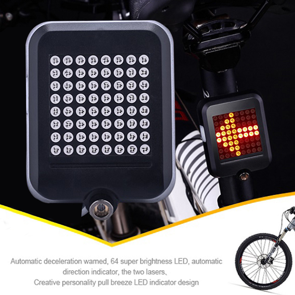 Bicycle Wireless Remote USB LED Indicator Bike Rear Tail Laser Turn Signal Light