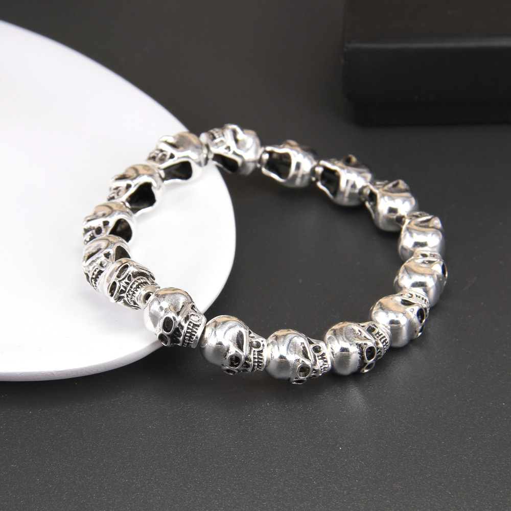 HEMISTON Punk 925 en argent Sterling crâne perles Bracelets, 14 CM-24 CM, bijoux fins cadeau pour femmes et hommes TS 021 - 2