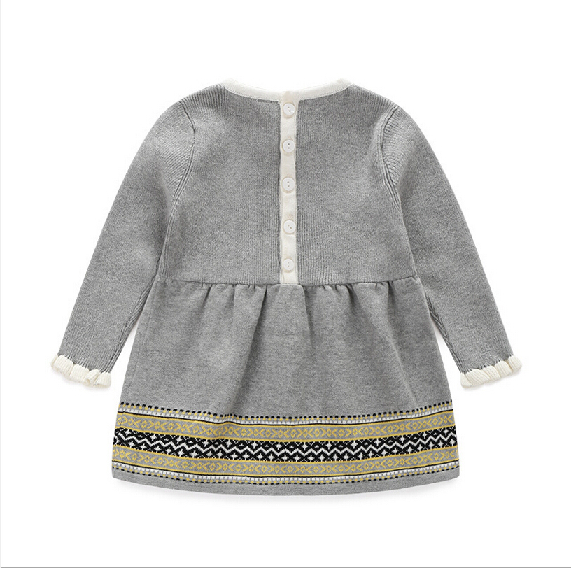39744e7c723a Toddlers Girls Sweater Dress pink gray colour Cute Child Baby Primer ...