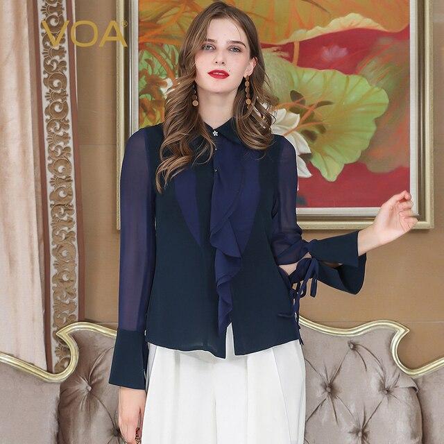 14071b7c92243 VOA Heavy Silk Blouse Office Ladies Tops Ruffles Ribbon Basic Shirt Women  Sexy Mesh Tassel Navy Blue Autumn Long Sleeve B362