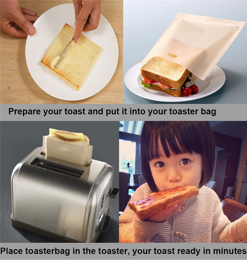 3PCS Reusable Toaster Bag Grilled Cheese Heat Resistant Teflon Coated Bread Doughnut Bags Bread Sandwiches Chicken Toaster Bags image