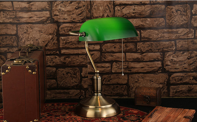 Study Desk Light For Library Bank Desk Lamps Reading Light Green Glass  Cover Shade Desk Lamp E27 Led Office Lighting Table Lamp