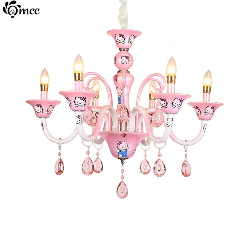 Nouveau design moderne coréenne fille bébé salon lustre chambre lampe éclairage rose bonjour kitty cristal lustre e14 bougie ampoule dans lustres de