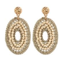 Sehoran 2017New trendy big drop oval crystal earrings handmade jewelry earrings for woman brincos bead Weaving drop long earring