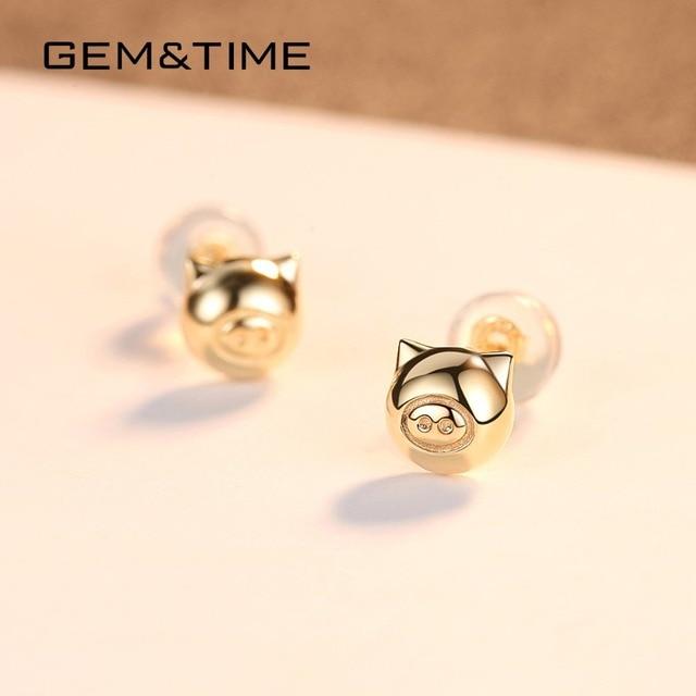 Lucky Pig 14K Gold Stud Earrings 4