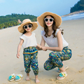 New Family Matching Outfits Chiffon Tops+Pants 2pcs Mother and Daughter Clothes Family Clothing Sets Summer Beach Family Set GS8