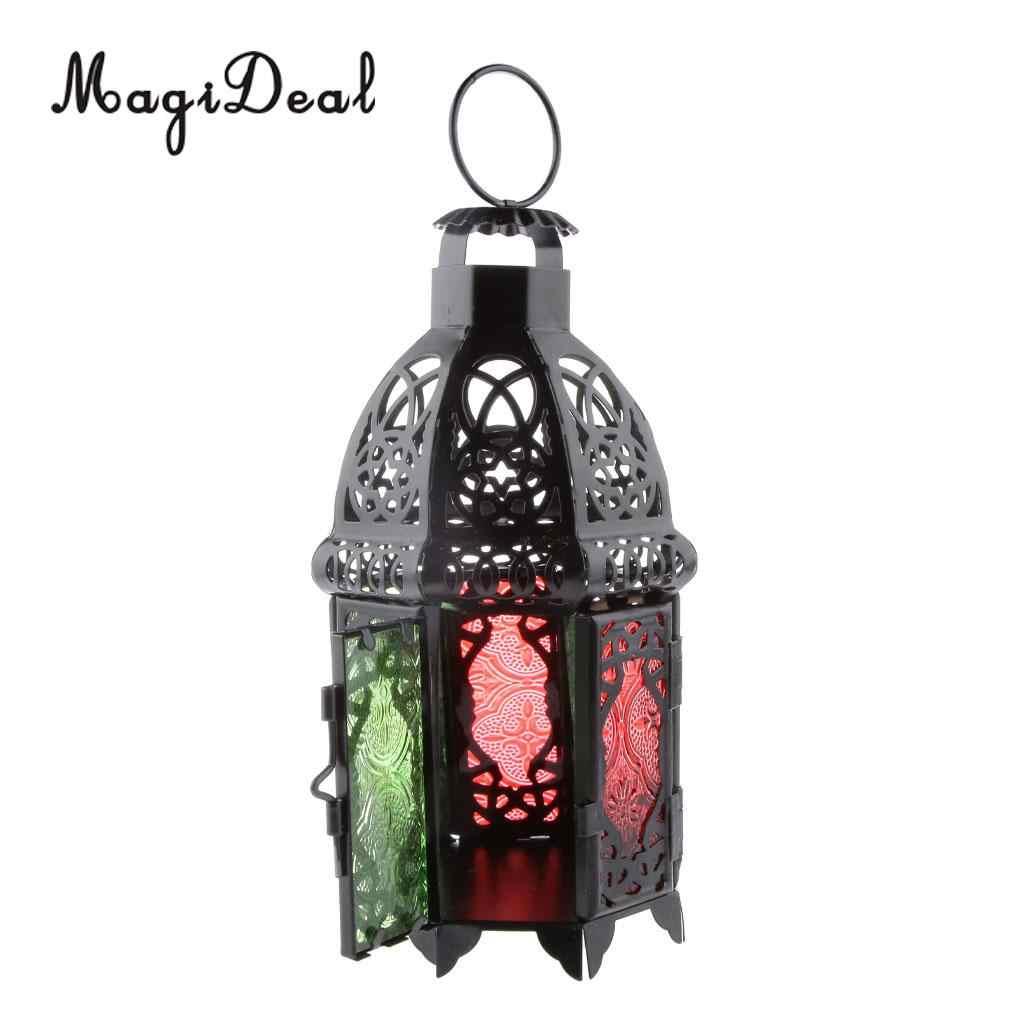 MagiDeal מרוקאי קיר תלוי צבעוני זכוכית מנורת פנס תה אור נר בעל, בית קישוטי חתונת המפלגה דקור