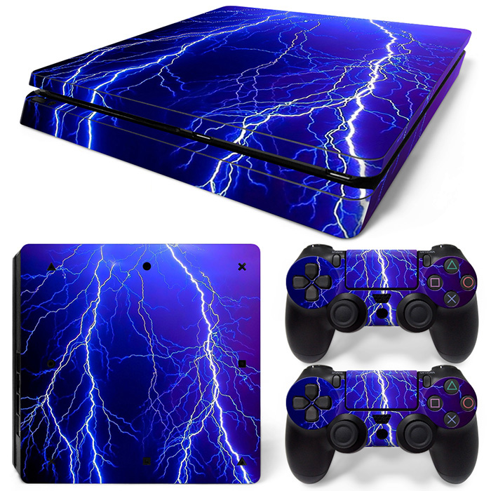 Cool design high quality skin sticker for PS4 slim console and 2 controller game accessories game stickers #TN-P4Slim-1303