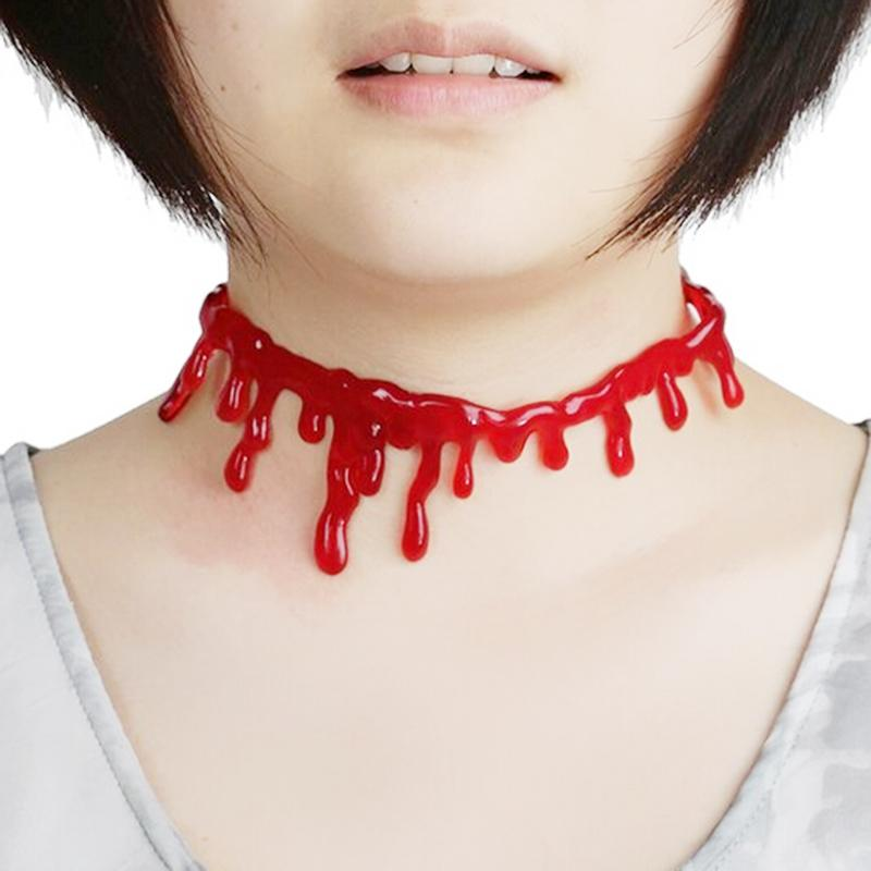 f98c7ecc7f3a2 US $1.26 9% OFF| KUNIU 2017 Hot Sale Creepy Halloween Dripping Blood Choker  Blood drip Necklace Accessory-in Choker Necklaces from Jewelry & ...