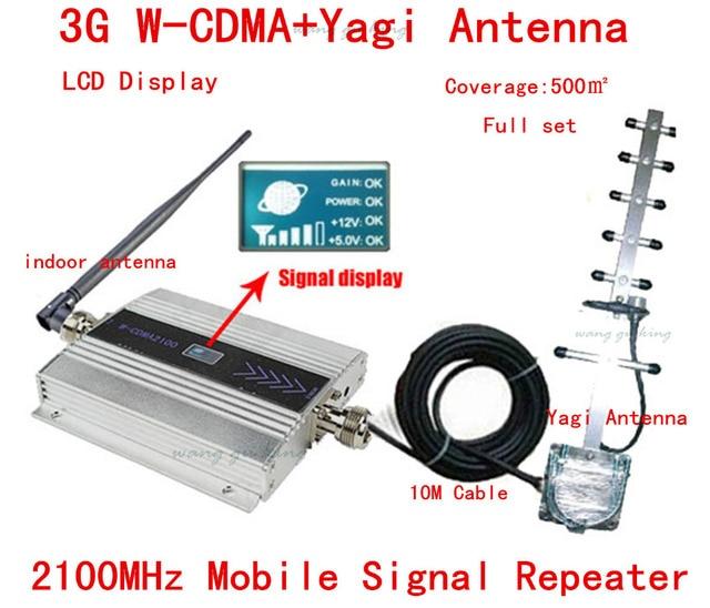 ГОРЯЧАЯ Полный набор 3 Г WCDMA UMTS 2100 МГЦ ЖК Ретранслятор Сотового Телефона мобильный Сигнал Повторителя/Amplifier/booster + Яги Антенна + 10 м Кабеля