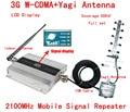 QUENTE conjunto Completo 3G UMTS 2100 MHZ WCDMA LCD Repetidor de Telefone Celular Sinal de celular Repetidor/Amplificador/impulsionador + Antena Yagi + 10 m Cabo