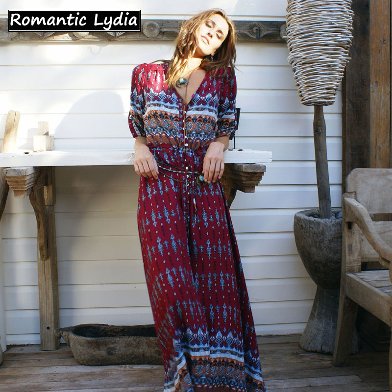 ce94d532055 Women Long Party Dress Maxi Floor Length Casual Split Retro Summer ...
