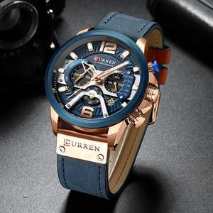 Image 3 - CURREN 8329 Mens שעונים למעלה מותג יוקרה הכרונוגרף גברים שעון עור יוקרה עמיד למים ספורט שעון גברים שעון גבר שעוני יד