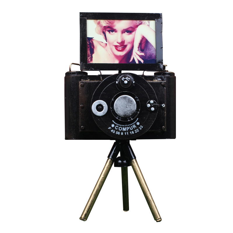 Vintage Handmade Metal Camera Model Creative Multipurpose Photo Frame Decoration Craft Bring Support Home Decoration Accessories
