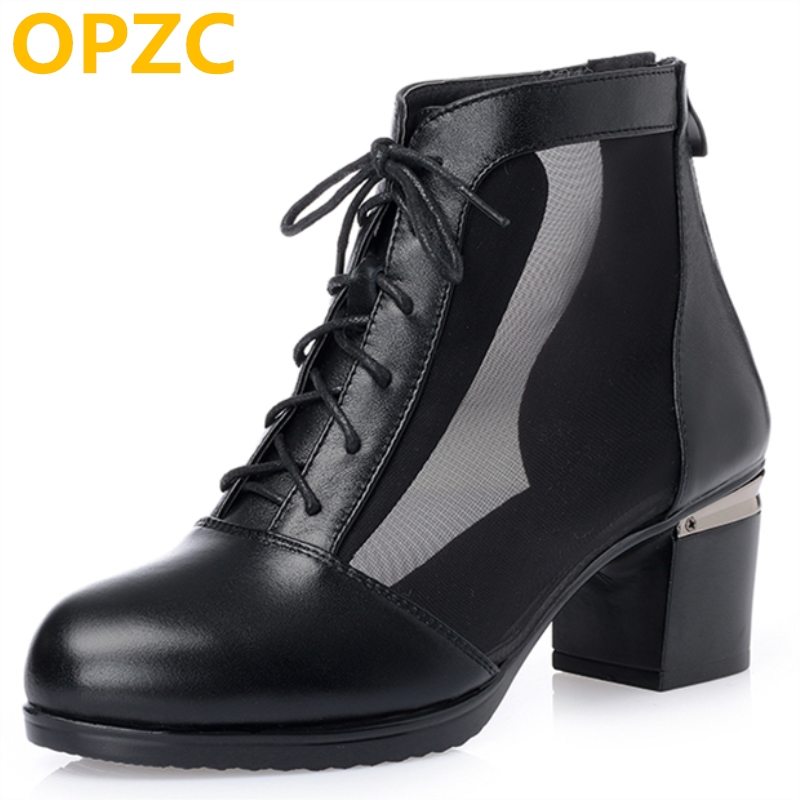 OPZC 2018 New summer women boot genuine leather Womens sandals big size 41 42 43 fashion mesh dress sandals female