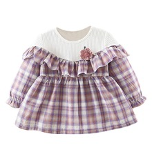 Spring Baby Girls Dresses Long Sleeve Classic Plaid Dress For Kids Children Princess Clothes for