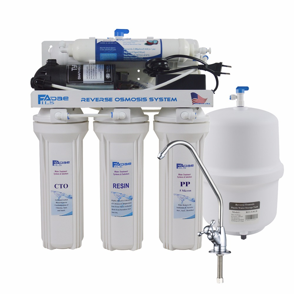 Reverse Osmosis Drinking Water Filtration System 75GPD RO Membrane Cation Resin Ion Exchange Filter/100-240V/Europe Two-pin plug звонок дверной мелодика б802 black беспроводной