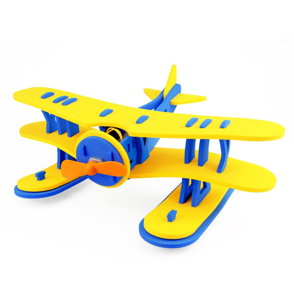 DIY EVA Foam Hand Throwing Free Flying Glider Plane Handmade Assembly Aircraft For Kids Outdoor Sports Toy Random Color