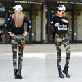 Pantalones de camuflaje Pantalones Cargo de Las Mujeres 2016 Pantalones Militares Para Las Mujeres Moda Delgado Lápiz Pantalones Causales Mujeres A1139