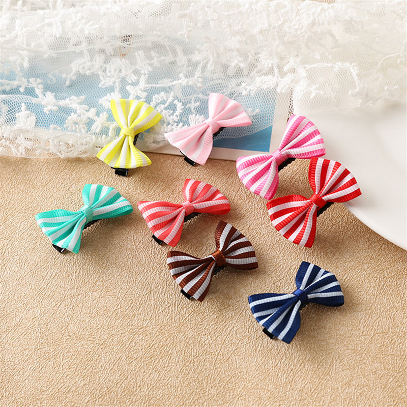 2PCS Lovely Stripe Small Bow Hairpin Hair Bands Toys For Girls Handmade Small Clips Headband Scrunchy Hair Accessories For Kids