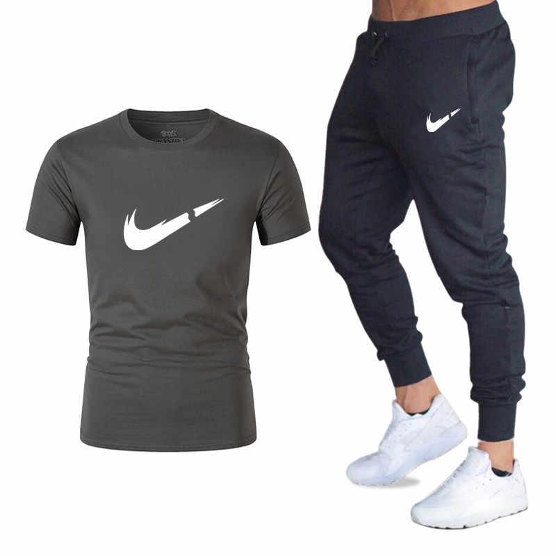 新しい夏新メンズ Tシャツカジュアルスーツジム男性の服の男はトップス + パンツ男性トレーナー男性ブランド Tシャツセット