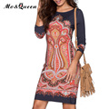 Casual Women Dress 2017 Elegant Brazilian Tribal Print Ladies Dresses New Fashion Half Sleeve Sheath Autumn Dress Women O Neck