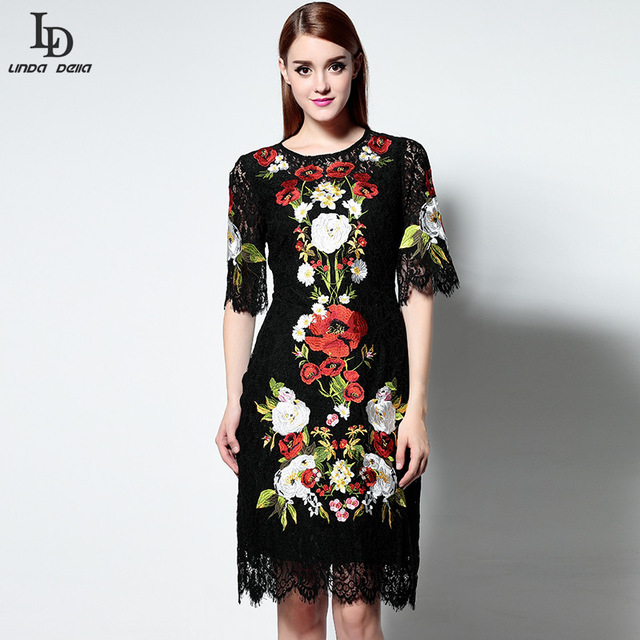 Новая Мода Black Lace Dress Взлетно-Посадочной Полосы Дизайнер Женщин Колен Винтаж Bodycon Тонкий Оболочка Великолепный Кружева Вышивки Dress