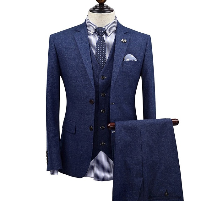 Brand Clothing Men Suits Tuxedo Wedding For England Style Slim Fit Groom Suit