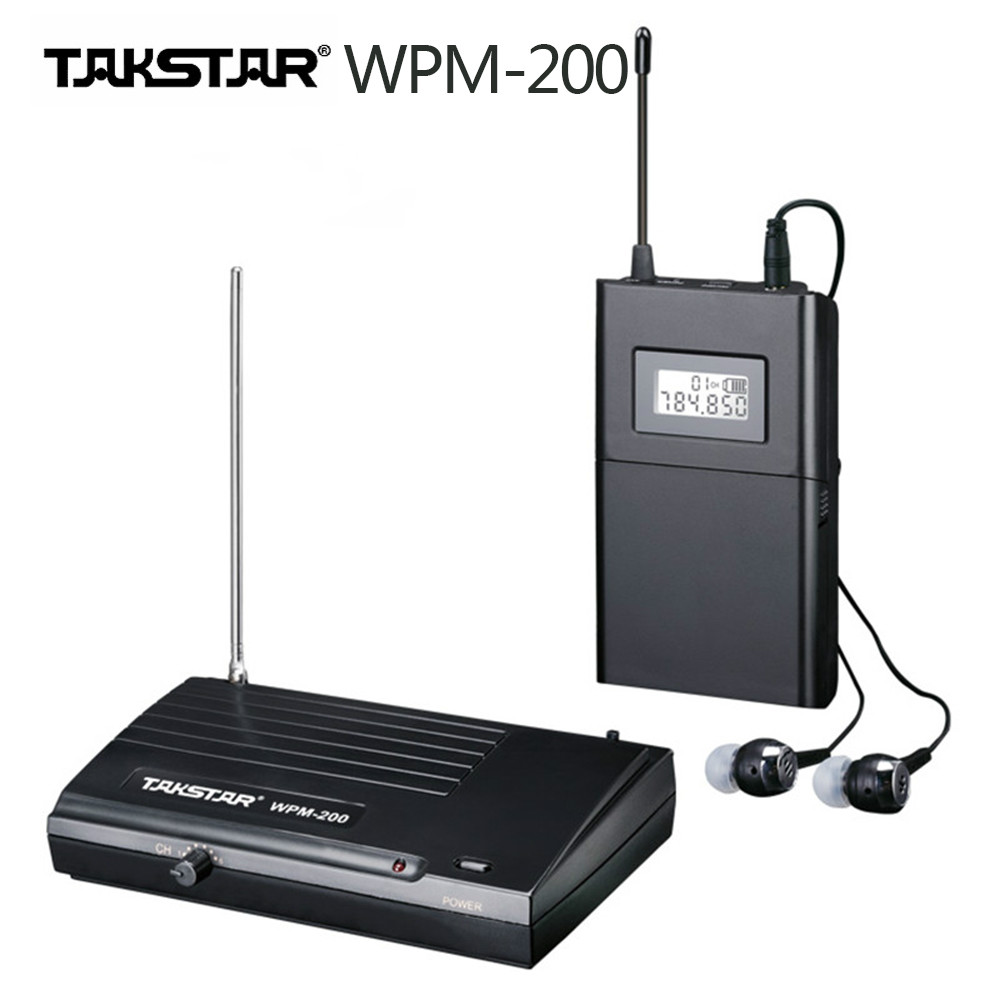 Original Takstar wpm 200 Transmitter Receiver Stage monitors one set UHF Wireless Monitor System In Ear