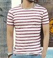 Brand clothing hombres camisa a rayas camiseta ocasional 2016 de la marca de verano hombres de la manera botón de la camiseta camiseta masculina