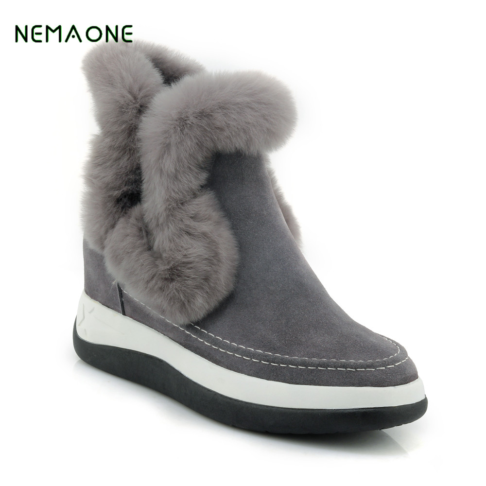 NEMAONE 2017 Top Quality New Fashion 100% Genuine Cowhide Leather Snow Boots Real Fur Classic Mujer Botas Waterproof Winter aiweiyi womens high quality genuine leather real fur 100
