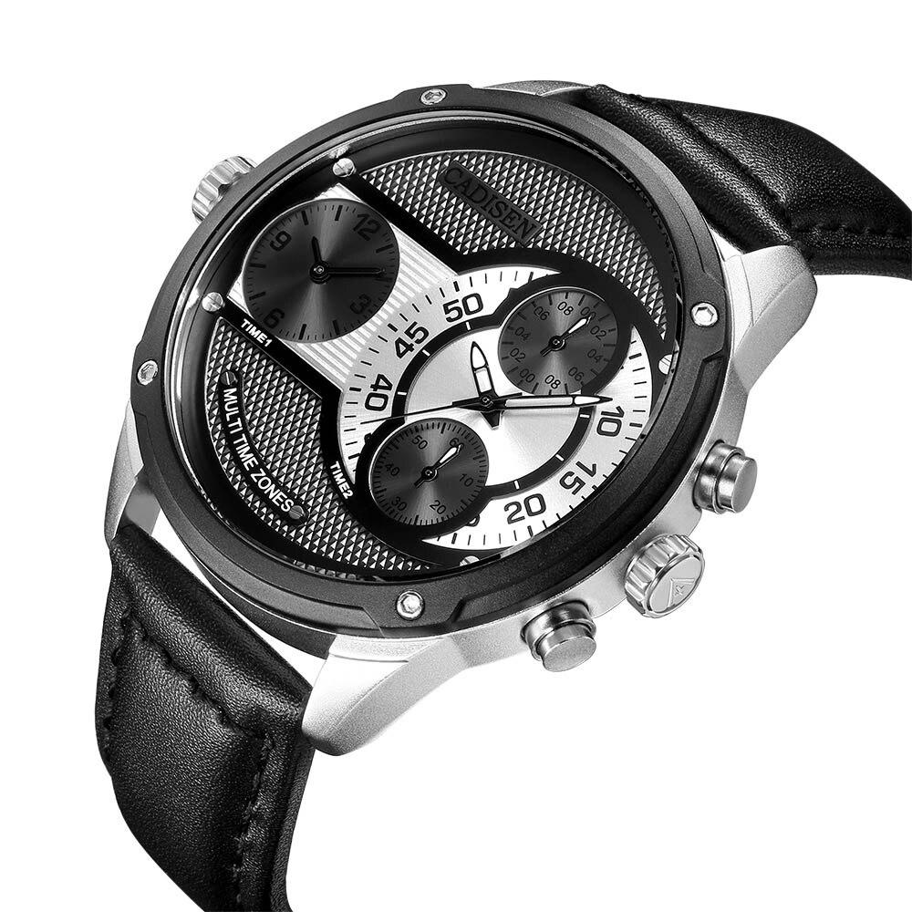 CADISEN Famous Designer Mens Watch Dual Time Zone Quartz-Watch Leather Strap Big Face Military Quartz Clock Relogio Masculino