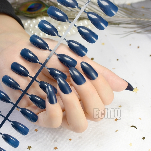 Online shop shinning surface almond design acrylic nails medium shinning surface almond design acrylic nails medium pointed fake nail candy pure dark blue stiletto artificial faux ongles 481p prinsesfo Images