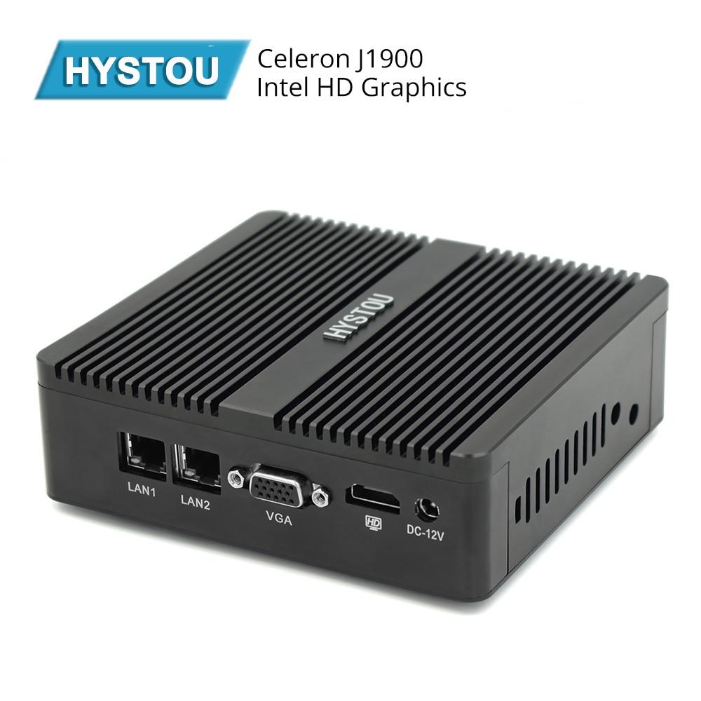 Hystou Mini PC Box Celeron J1900 Quad Core Windows 10 Dual LAN 2*COM Fanless Mini Computer NetTop Pfsense 300M WIFI HDMI VGA